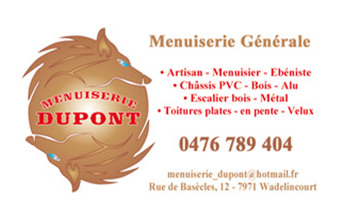 Menuiserie Dupont – Menuiserie – 7971 Wadelincourt