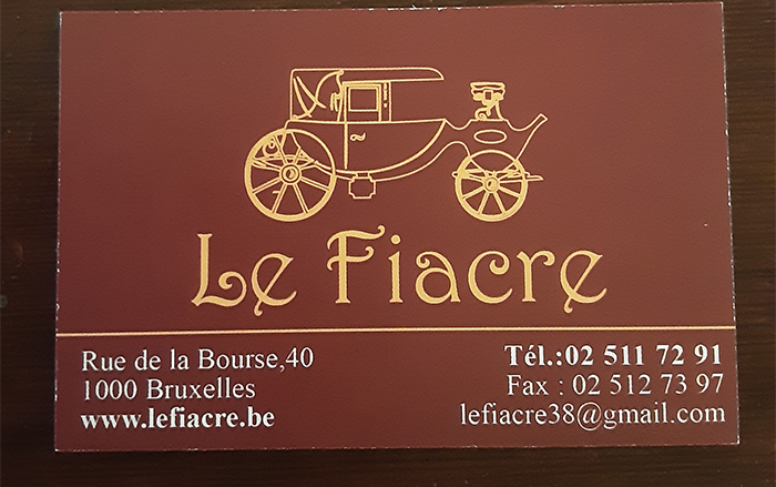 Le Fiacre – HORECA – 1000 Bruxelles