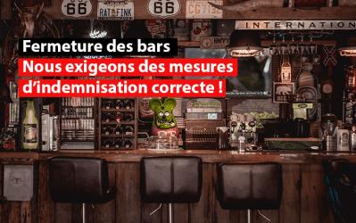 Crise du Covid-19 – Bruxelles : Le SDI exige que toute obligation de fermeture des bars et cafés à Bruxelles soit couplée à des mesures d'indemnisation correcte des exploitants !