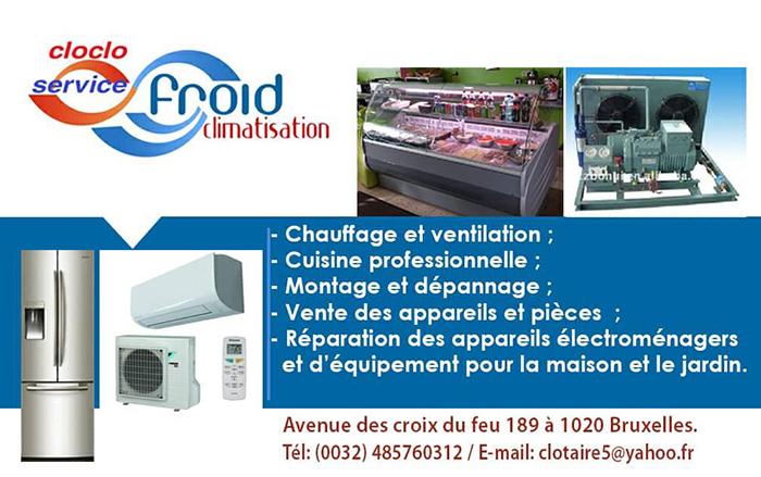 Cloclo Service – Technicien frigoriste – 1020 Bruxelles
