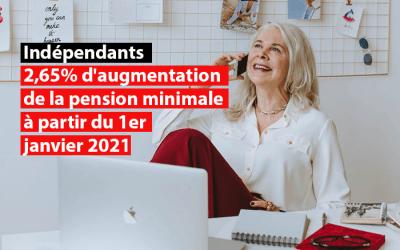 Indépendants : 2,65% d'augmentation de la pension minimale à partir du 1er janvier 2021