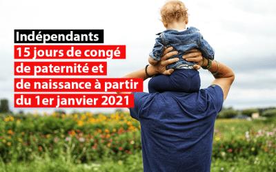Indépendants : 15 jours de congé de paternité et de naissance à partir du 1er janvier 2021
