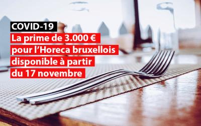 La prime de 3.000 euros pour les cafés et restaurants bruxellois disponible à partir du 17 novembre