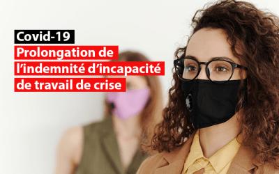 Crise du Covid-19 : Prolongation de l'indemnité d'incapacité de travail de crise
