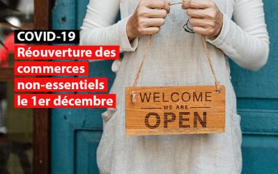 Réouverture des commerces non essentiels le 1er décembre : Soulagement du SDI
