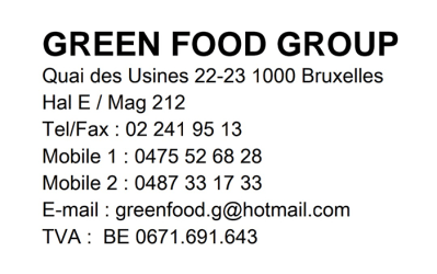 Green Food Group sprl – Fruits & légumes – 1000 Bruxelles